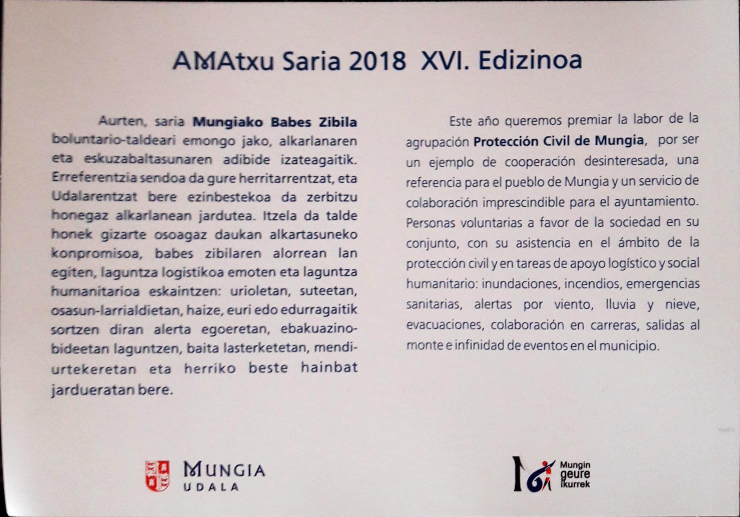 Mungia AMAtxu saria 2018